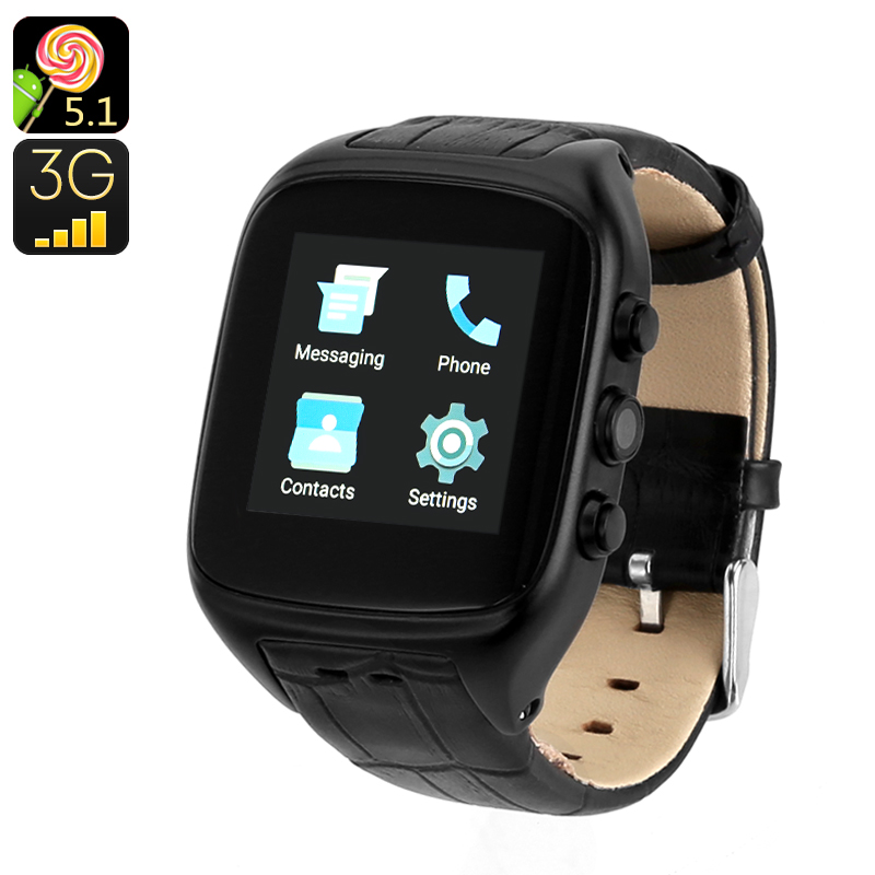 Android 5.1 3G Watch Phone (Black) - Feature Image